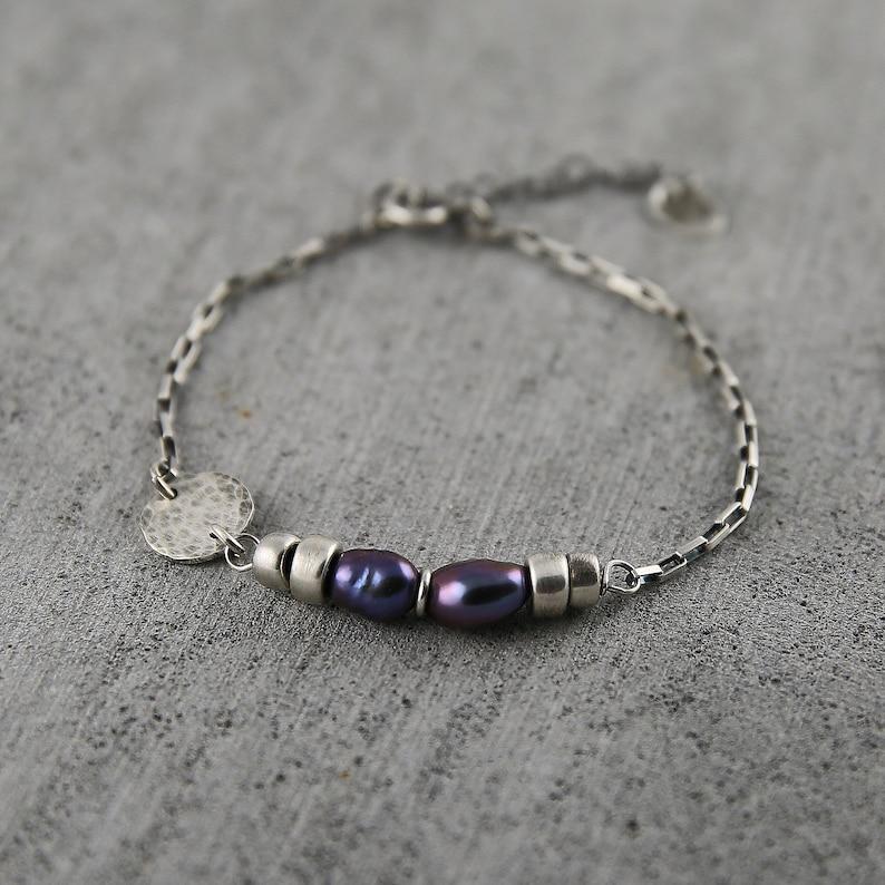 Black pearl bracelet freshwater pearl bracelet minimalist image 0