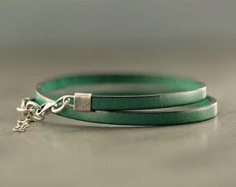 Double wrap bracelet, mens jewellry, leather bracelet, groomsmen gift, for him, husband gift ,mens bracelet leather, mens accessories