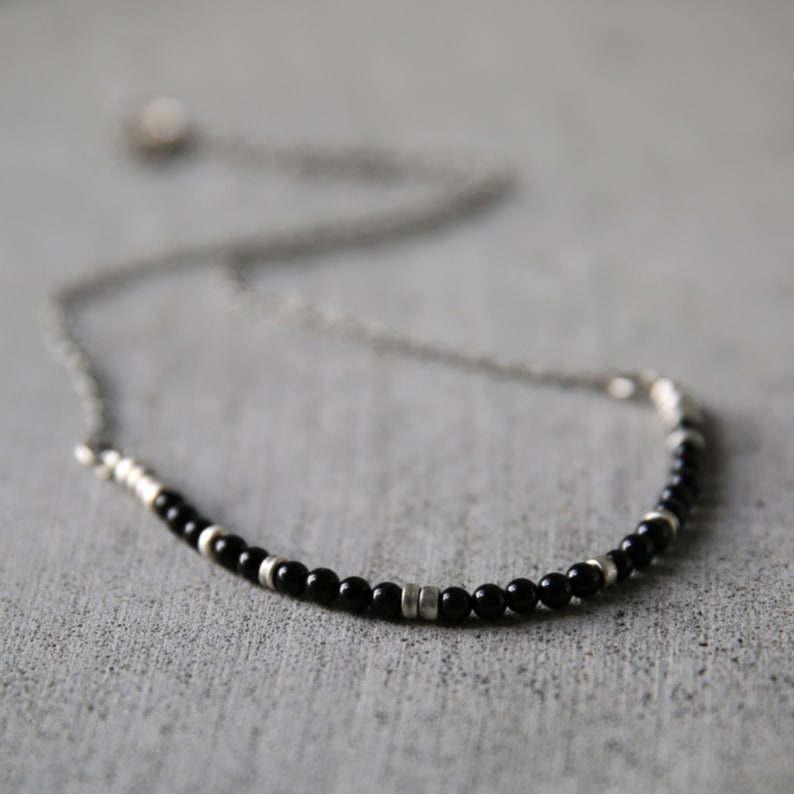 Delicate necklaces for women.Black onyx necklace.Gift for image 0