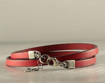 Red leather bracelet and sterling silver, rustic boho bracelet, step dad gift, unisex simple bracelet, love bracelet, bracelet gift