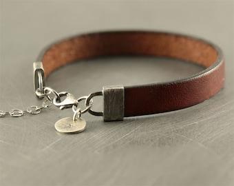Mens bracelet, leather bracelet, personalized braclet, gift for him, mens accessories, mens jewellry, bracelet for man, husband gift