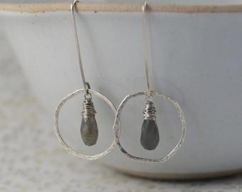 Boho sterling silver hoop earrings, labradorite earrings, hoop earrings with stone, 21st birthday gift for sister, round earrings