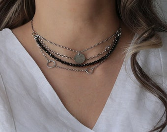 Black tourmaline necklace for women, boho necklace, tourmaline jewelry, multistrand necklace, layered necklace, raw silver necklace