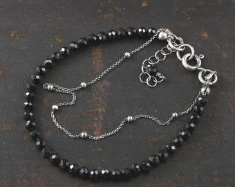 Black tourmaline bracelet, silver bracelet, positive energy bracelet, 21st birthday gift for her, mom christmas gift from daughter,