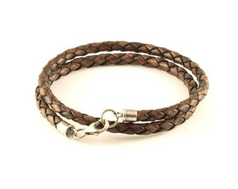 Double wrap silver and leather bracelet, man bracelet, man leather bracelet, braided leather bracelet, man natural bracelet