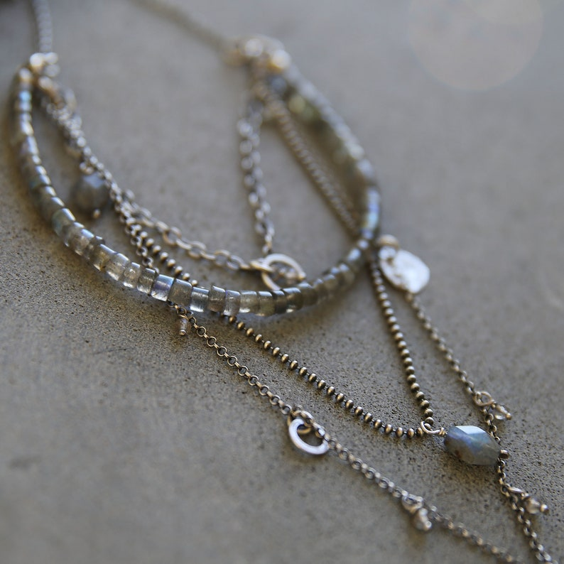 Labradorite necklace sterling silver layered necklace for image 0