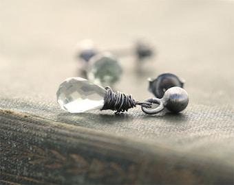 Green amethyst stud earrings, drop earring, sterling silver small simple modern earrings, post earrings, small earrings