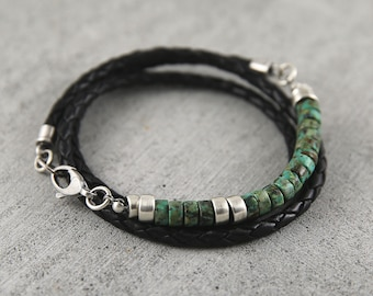 African turquoise and braided leather bracelet for men, turquoise bracelet, birthday gift for him, man silver bracelet leather,mens bracelet
