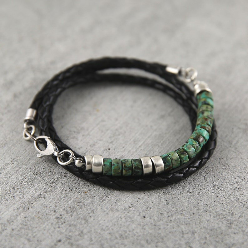 African turquoise and braided leather bracelet for men image 0