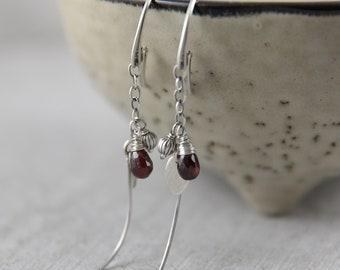 Mothers day gift, garnet earrings, boho earrings womens gift, fashion lover gift for women, dangle earrings, anniversary gift for wife,