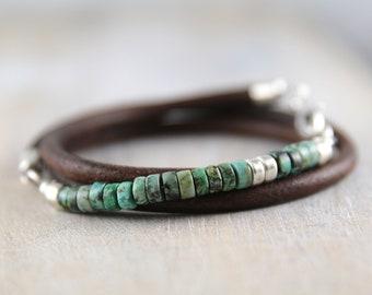African turquoise and leather bracelet for men, turquoise bracelet, man silver bracelet leather, anniversary gift for him, mens bracelet