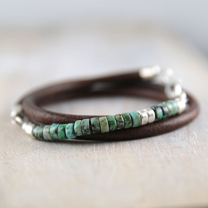 African turquoise and leather bracelet for men turquoise image 0
