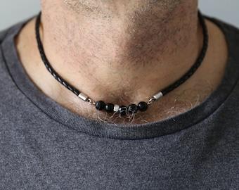 Mens boho necklace, leather necklace, boyfriend gift, mens stone necklace, mens necklace, choker necklace for men, mens bar necklace