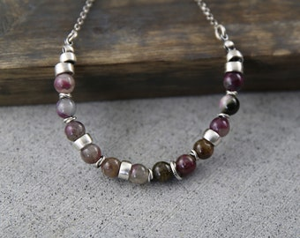 Tourmaline and sterling silver necklace, October birthstone necklace, organic necklace for women, unique romantic necklace.