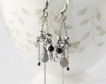 Sterling silver chandelier earrings, labradorite and black onyx earrings, 30th birthday gift for her, raw silver earrings