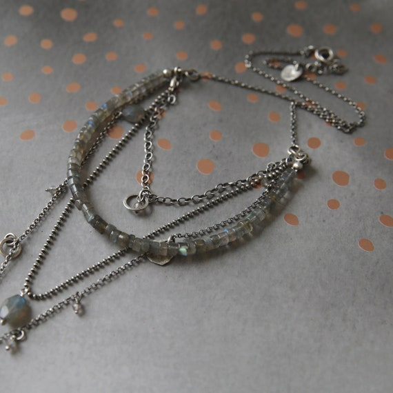 boho necklace gift for her Labradorite necklace boho jewelry necklace silver layered necklace for women bohemian multistrand necklace
