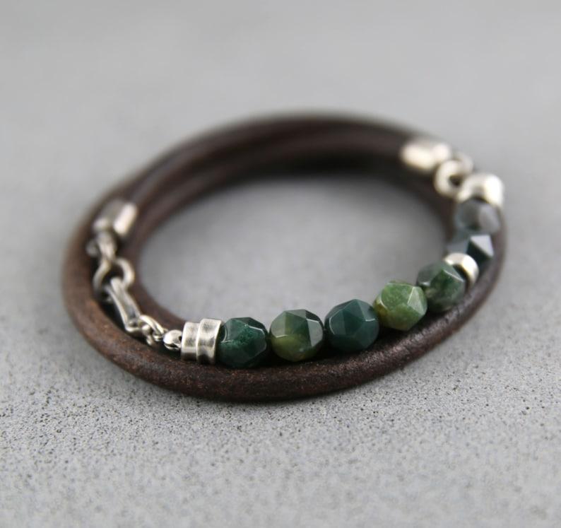 Leather bracelet men mens bracelet mens beaded bracelet image 0