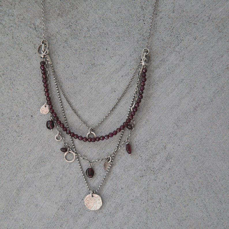 Garnet necklace layered necklace for women boho necklace image 0