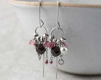 Hoop earrings with charm, dangle earrings, silver earrings, 21st birthday gift for sister, boho bride earrings, gift for women