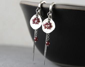 Bohemian garnet earrings, silver and garnet earrings, boho earrings, best friend gifts, statement earrings, gift for women