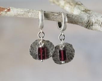 Garnet earrings, garnet sterling silver earrings, anniversary gift for wife, boho earrings, gift for women, dangle earrings, drop earrings