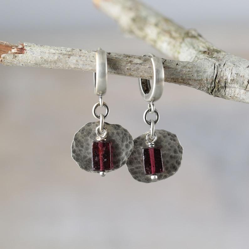 Garnet earrings garnet sterling silver earrings anniversary image 0
