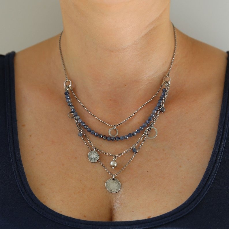 Sapphire necklace boho necklace layered necklace for women image 0