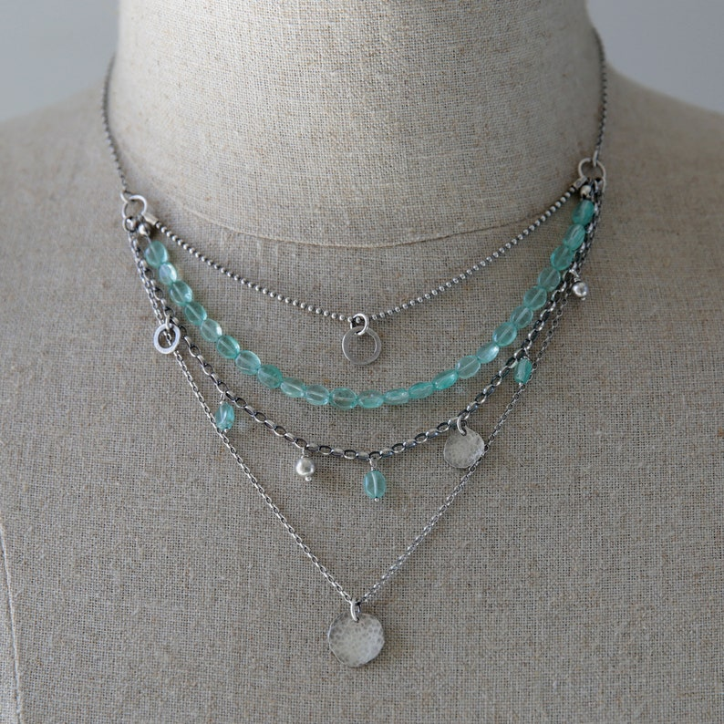 Layered necklace for women boho necklace blue apatite image 0