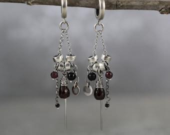 Garnet earrings sterling silver, garnet chandelier earrings, 40th birthday gifts for women, long fancy earring, silver fringe earringss,