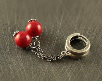 Long red earrings. Romantic earrings. Anniversary womens gift