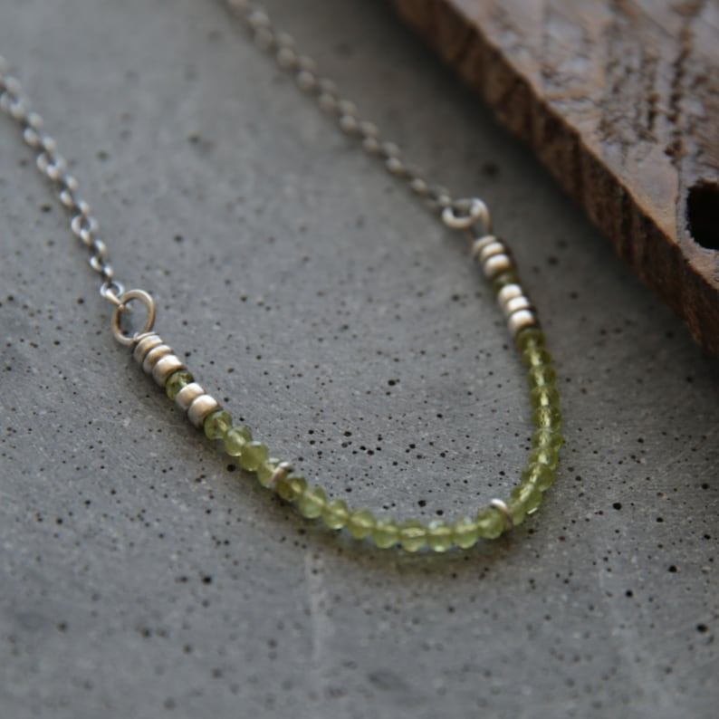 Green peridot necklace. Organic necklace. Romantic necklace. image 0