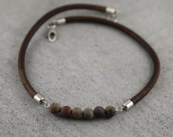 Boyfriend necklace, mens leather choker, mens bar necklace, mens necklace leather, brown leather choker,  masculine necklace