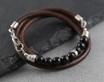 Onyx bracelet men, 40th birthday gift for man, mens bracelet, silver bracelet, anniversary gift for him, custom mens leather bracelet