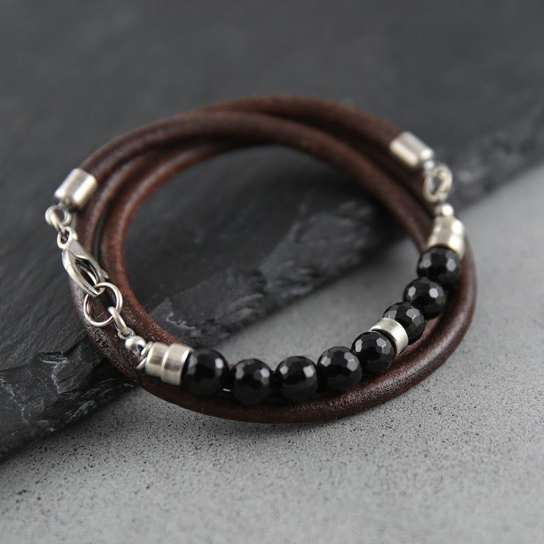 Onyx bracelet men 40th birthday gift for man mens bracelet image 0
