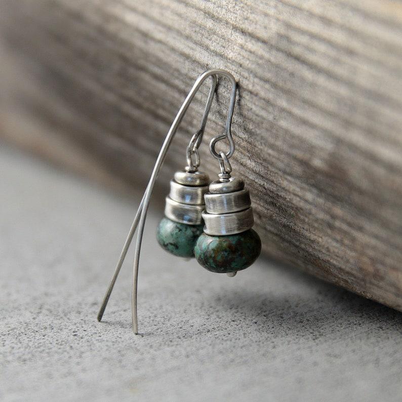 Genuine turquoise earrings dangle earringsboho earrings gift image 0