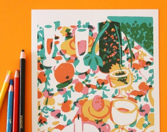 Print of mid-century style still life garden food gathering with abstract flower pattern illustration