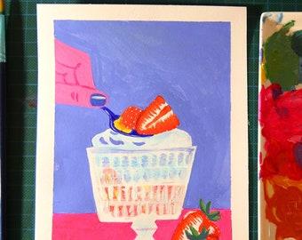 Original art hand painted Still Life with Strawberries Ice-cream
