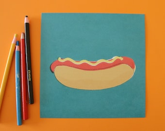 Retro hot-dog print fast food diner midcentury style wall decor