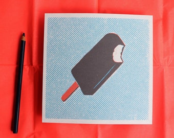 Retro style ice-cream stick illustration print