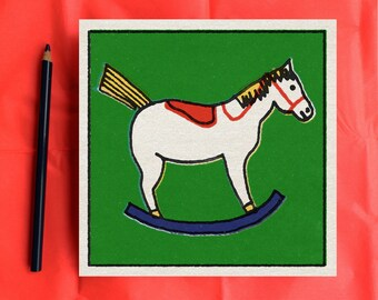 Wall decor print of mid-century style toy horse illustration
