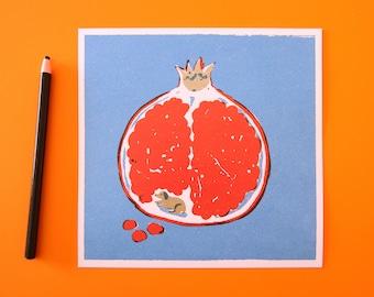 Tiny dog inside a pomegranate kawaii retro style print of a puppy inside a fruit