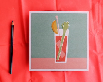 Mid century modern Bloody Mary cocktail illustration print
