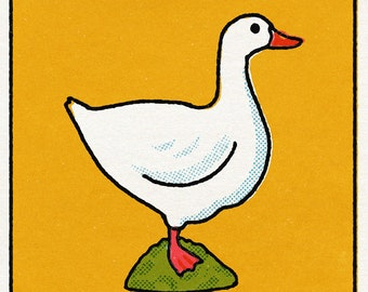 Perfect for the nursery digital print of mid-century style toy goose illustration