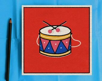 Retro style illustration print of mid-century toy drum