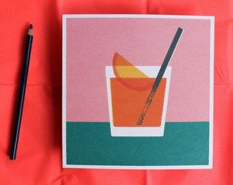 Mid-century style Spritz cocktail  illustration print