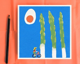 Asparagus trees midcentury illustration style wall hanging for the kitchen