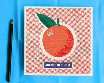 Retro style orange wrapper illustration print perfect as a gift or as kitchen or dining room wall decoration