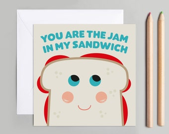 colourful illustration Jam sandwich greetings or note card Bold Blank inside.