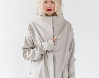 Leather jacket, Oversized Jacket, PU Leather Jacket, Sand colour Jacket, High Collar Jacket, Minimalist Jacket, Loose Jacket, Womens clothes