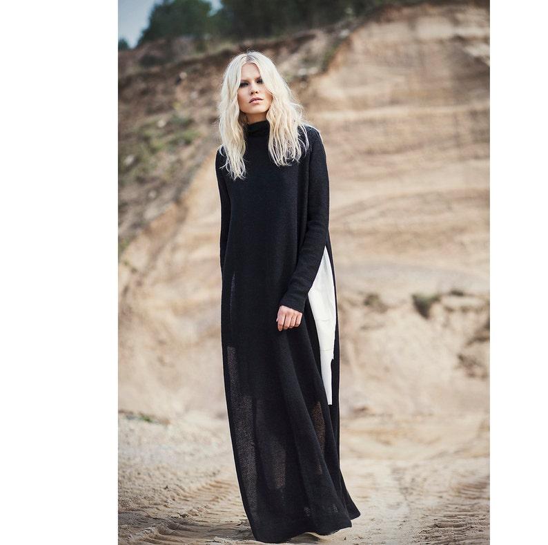 e7639491cfd Long pull robe tricotée avec fentes long noir surdimensionné
